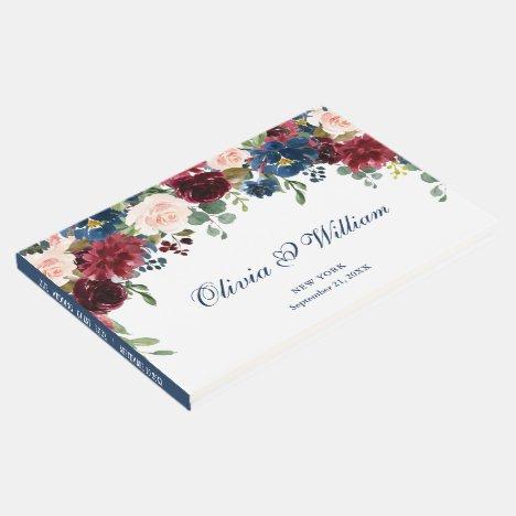 Burgundy Navy Blue Blush Floral Wedding Guest Book