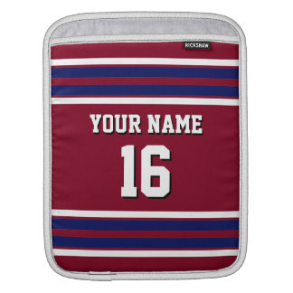 Burgundy Navy Blue Team Jersey Custom Number Name iPad Sleeve