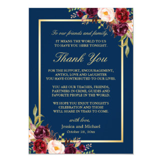 Burgundy Navy Blue Wedding Place Setting Thank You Card