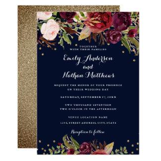 Burgundy Navy Floral Confetti Wedding Invitation