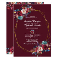Burgundy Navy Floral Gold Frame on bordo Wedding Invitation