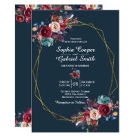 Burgundy Navy Floral Gold Frame on gray Wedding Invitation