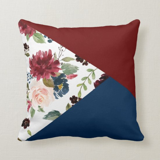 Burgundy Navy Floral | Rustic Boho Chic Pattern Throw Pillow