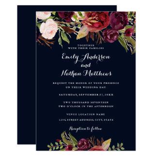 Burgundy Navy Floral Spring Wedding Invitation