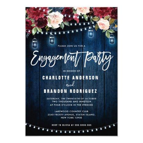 Burgundy Navy Floral String Light Engagement Party Invitation