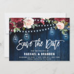 "Burgundy Navy Floral String Light mason jar Save The Date<br><div class=""desc"">Watercolor burgundy red navy blush pink rustic country classy chic floral design with string lights and mason jars Save the date card template with green botanical foliage and eucalyptus leaves in wooden background. This beautiful easy to customize design can match easily with your wedding colors, styles and theme and it...</div>"