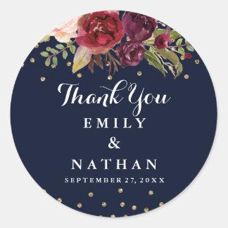 Burgundy Navy Floral Thank You Wedding Sticker