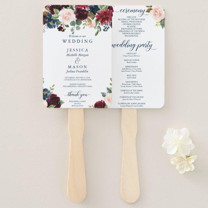 Hand Fan Wedding Program Fan Programs Ceremony Programs Country Flowers Rustic Wedding Customized