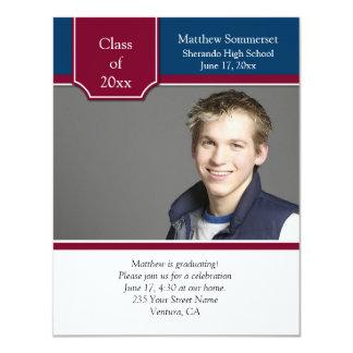 "Burgundy Navy White Photo Graduation Invitation 4.25"" X 5.5"" Invitation Card"