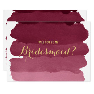 Burgundy ombre watercolor be my Bridesmaid Card