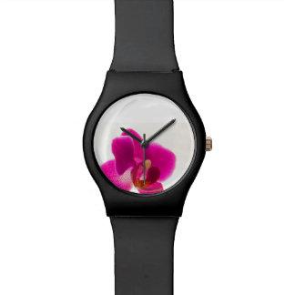 Burgundy Orchid Flower Wristwatch