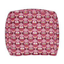 Burgundy Owls Pouf