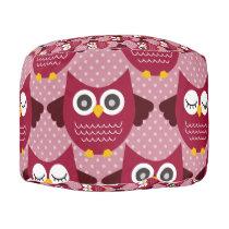 Burgundy Owls Pouf
