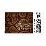 burgundy paisley western wedding save the date postage