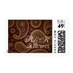 burgundy paisley western wedding save the date stamp