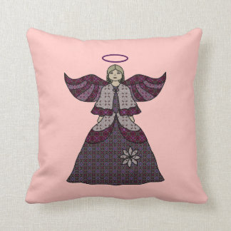 Burgundy Patchwork Angel Pillow