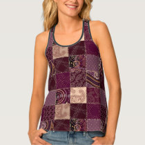 Burgundy Patchwork Quilt Pattern Ladies Tank Top