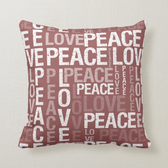 Burgundy Peace Love Throw Pillow Zazzle Com