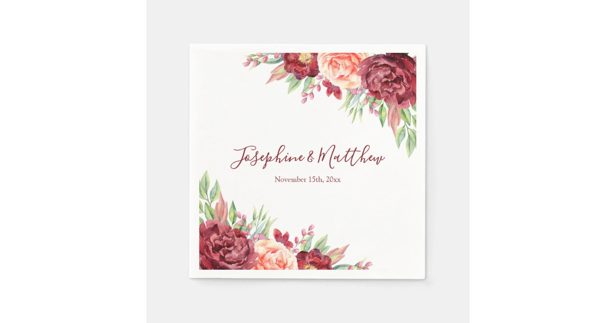 Burgundy Peach Rose Watercolor Floral Wedding Napkins Zazzle