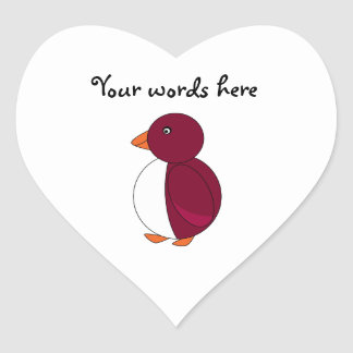 Burgundy penguin heart sticker