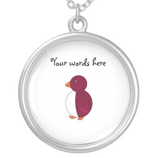 Burgundy penguin round pendant necklace