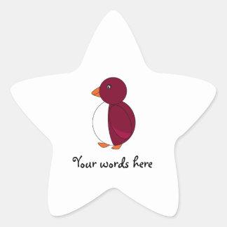 Burgundy penguin star stickers