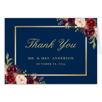 Burgundy Peony Floral Gold Navy Blue Thank You Card