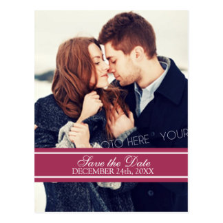 Burgundy Photo Save the Date Wedding Postcards