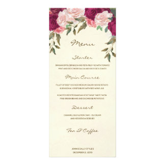burgundy pink blush floral ivory wedding menu