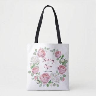 Burgundy Pink Chic Rose Floral Wedding Bag