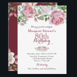 "Burgundy Pink Country Rose 80th Birthday Invite<br><div class=""desc"">Burgundy and pink chic old country rose floral 80th birthday invitation. This pink and white roses adult birthday invitation is a good choice for a summer birthday or a fall / autumn birthday. Although, you can also use it for a spring or winter birthday as well. This rose flower 80th...</div>"
