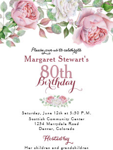 80th birthday invitations zazzle burgundy pink country rose 80th birthday invite filmwisefo
