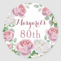 Burgundy Pink Country Rose Floral 80th Birthday Classic Round Sticker