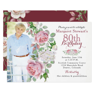 Burgundy Pink Country Rose Photo 80th Birthday Card