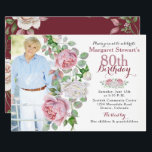 "Burgundy Pink Country Rose Photo 80th Birthday Invitation<br><div class=""desc"">Burgundy and pink chic old country rose floral 80th photo birthday invitation. This pink and white roses adult women's photo birthday invitation is a good choice for a summer birthday or a fall / autumn birthday. Although, you can also use it for a spring or winter birthday as well. This...</div>"