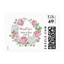 Burgundy Pink Country Rose Wedding Thank You Postage