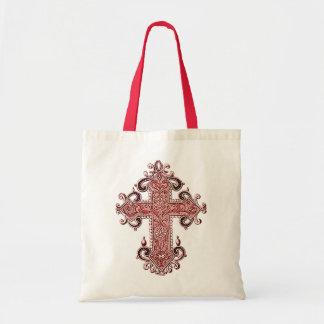 Burgundy Pink Cross Vintage Art Custom Tote Bag!