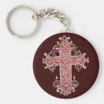Burgundy Pink Cross Vintage Art Key Chain! Basic Round Button Keychain