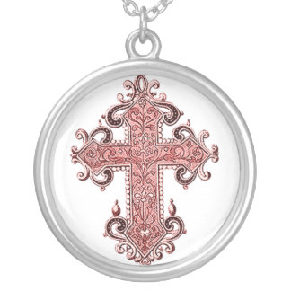 Burgundy Pink Cross Vintage Art Necklace!