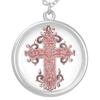 Burgundy Pink Cross Vintage Art Necklace! Round Pendant Necklace