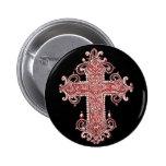 Burgundy Pink Cross Vintage Art Round Button!