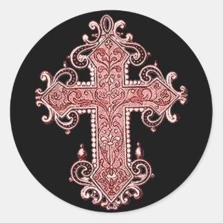 Burgundy Pink Cross Vintage Art Round Sticker!! Classic Round Sticker