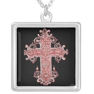 Burgundy Pink Cross Vintage Art Square Necklace