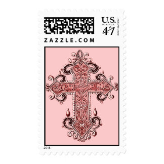 Burgundy Pink Cross Vintage Art US Postage Stamp!
