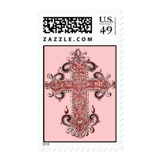 Burgundy Pink Cross Vintage Art US Postage Stamp!