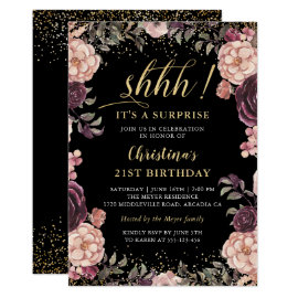 Burgundy Pink Floral Black Surprise Birthday Party Invitation