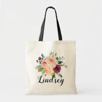 Burgundy Pink Floral Bouquet Bridesmaid Name Tote Bag