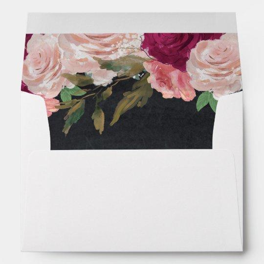 burgundy pink floral lined invitation envelopes zazzle com