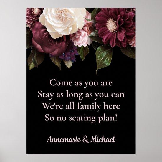 Burgundy & Pink Floral No Seating Plan Wedding Poster