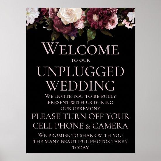 Burgundy & Pink Floral Unplugged Wedding Ceremony Poster